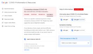 Google Tarda um Pouco, mas Lança a Página de Pandemia do Coronavírus